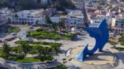 Escultura del Pez Vela en el centro de la ciudad | Foto: El Noticiero de Manzanillo