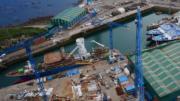 Panorámica aérea de un astillero de Armón   Foto: Especial