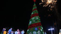 Un monumental pino navideño fue encendido anoche en la API, evento que estuvo encabezado por el director general de la dependencia Héctor Mora, quien invitó a los manzanillenses a pasar unas fiestas decembrinas en armonía familiar | Foto: Jesús Lozoya Baeza