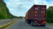trailer, autopista, carga, contenedores