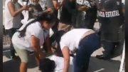 Ana Karen Hernández y Aracely García Muro y Vladimir Parra, señalan que recibieron golpes de agentes antimotines de la Policía Estatal al querer ingresar al edificio de la Fstse.