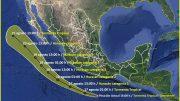 """Por el momento se mantiene como Depresión Tropical """"Doce-E"""", provocando lluvias puntuales intensas en Guerrero, Oaxaca, Chiapas y Veracruz.  Foto: Especial."""