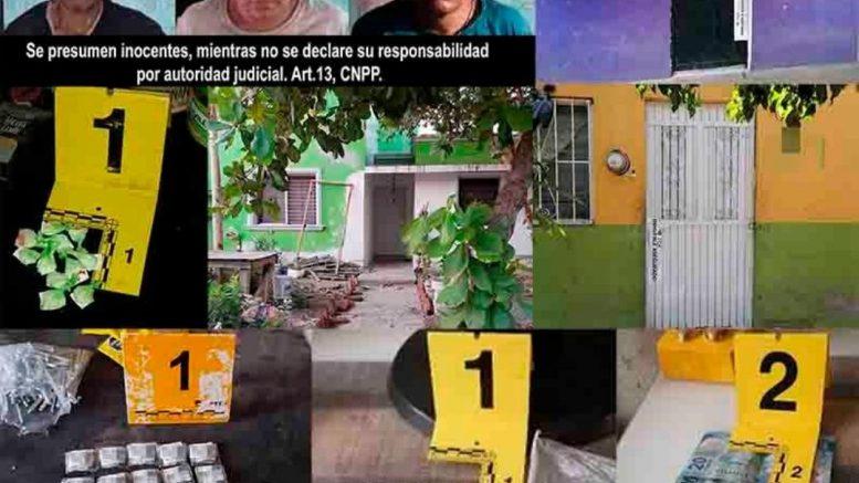 Tras la ejecución del primer operativo realizado a un domicilio ubicado en la colonia La Albarrada, en Colima, fueron detenidas tres personas, dos masculinos y una fémina, después de encontrarles diversos envoltorios de plástico conteniendo material granulado al tacto, además de dinero en efectivo.